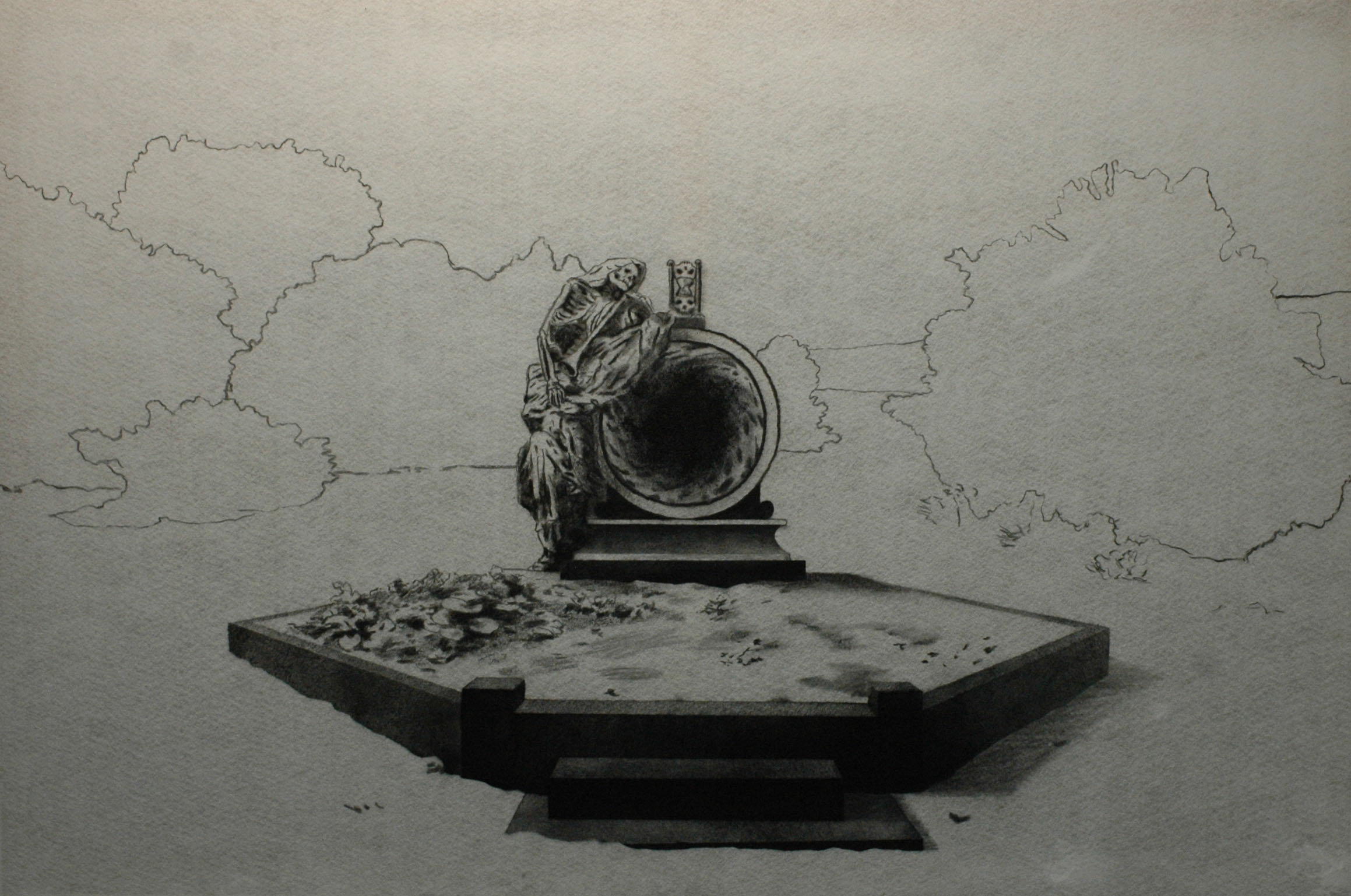 Múza duší, 2014, uhel na filcu, 100x150cm