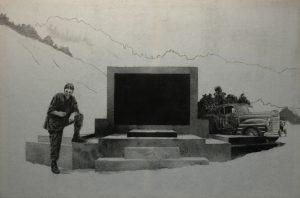Múza funebráka, 2014, uhel na filcu, 100x150cm