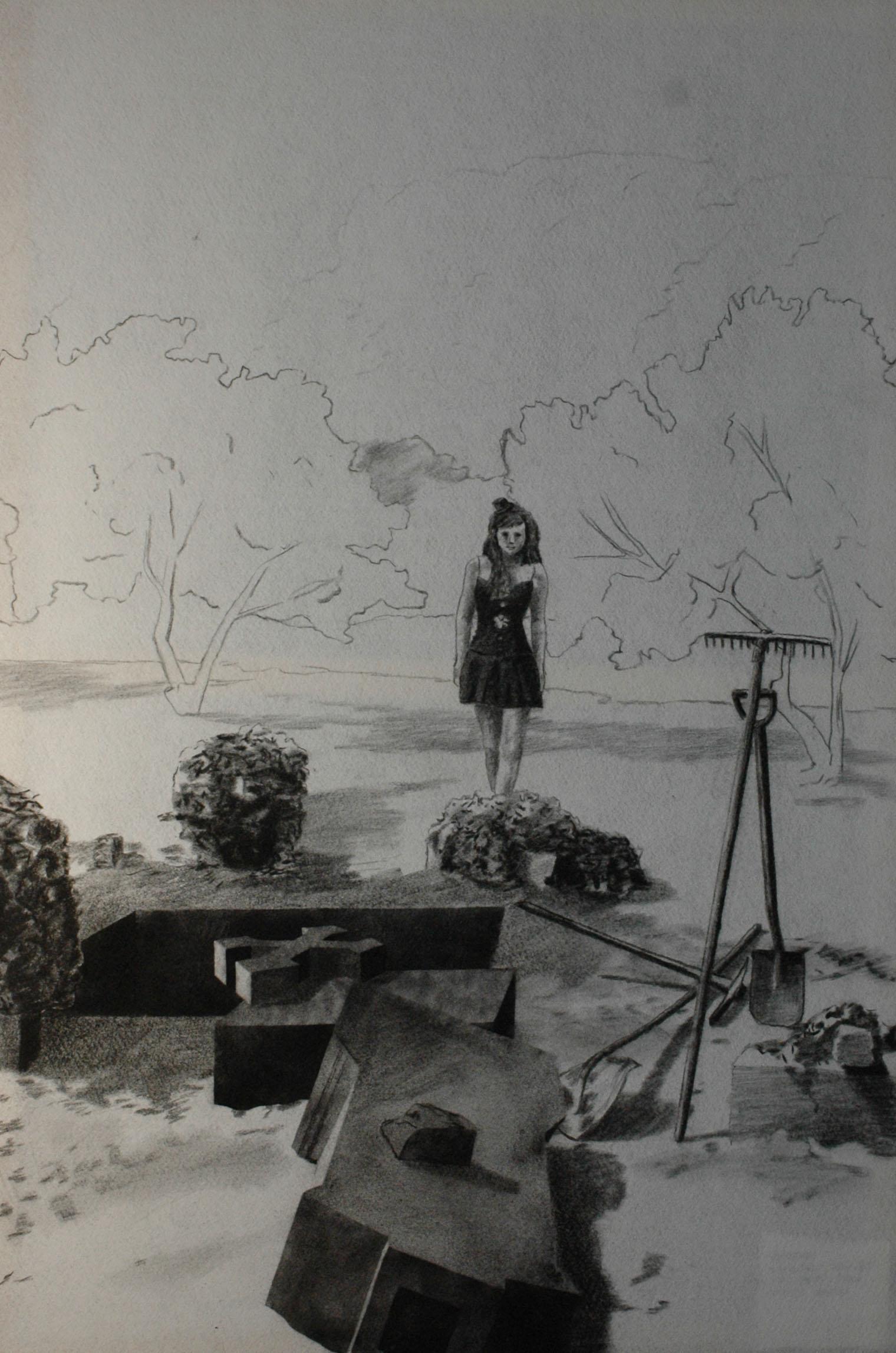 Múza kopáče hrobů, 2014, uhel na filcu, 150x100cm