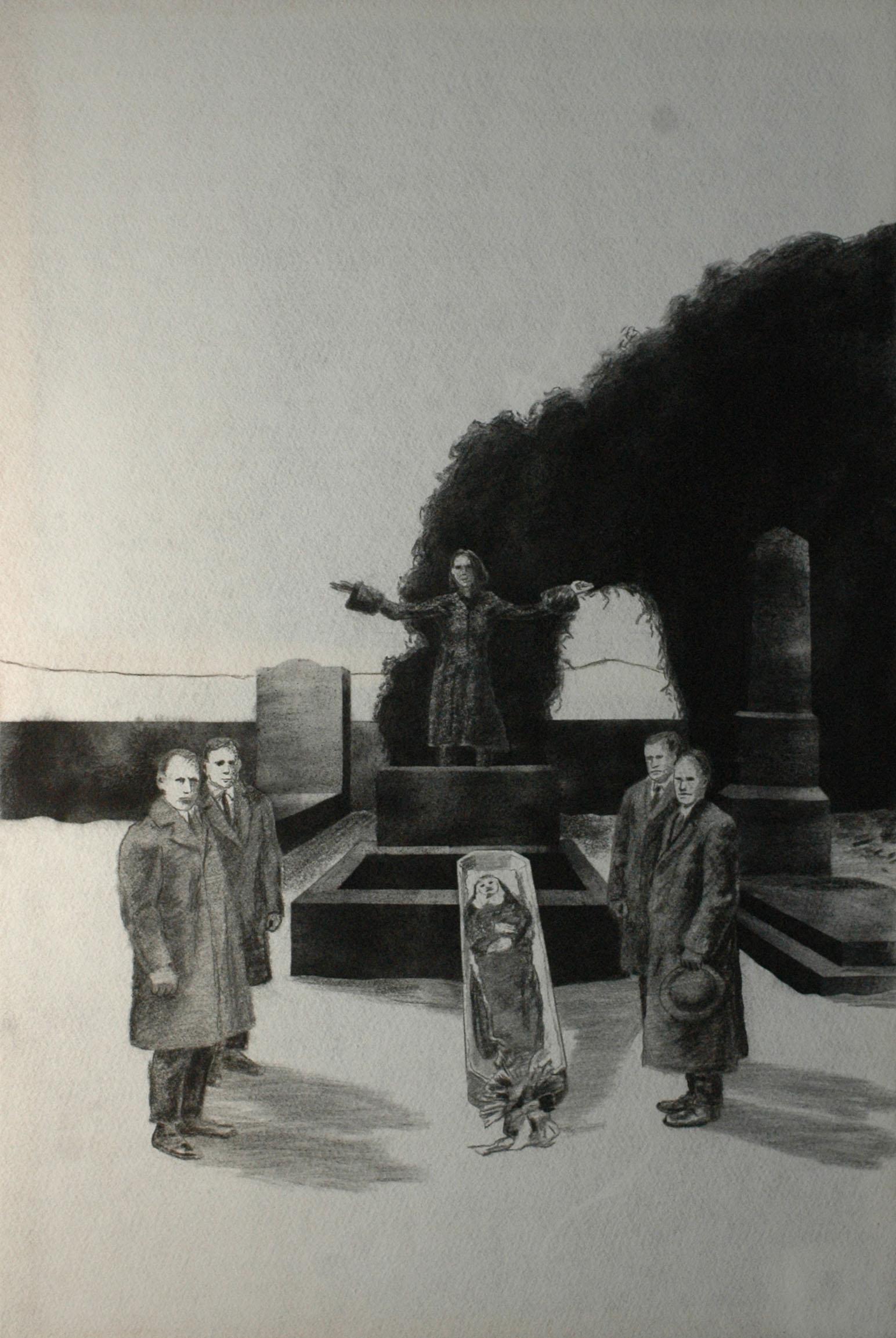 Múza posledního rozloučení, 2014, uhel na filcu, 150x100cm
