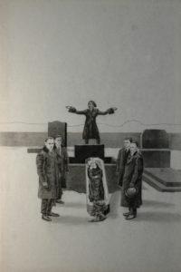 Múza posledního rozloučení II, 2014, uhel na filcu, 150x100cm