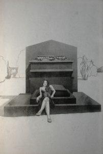 Múza rodinných hrobů, 2014, uhel na filcu, 150x100cm