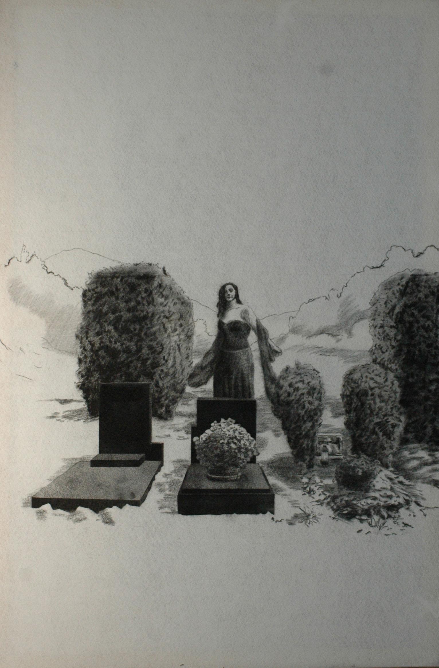 Múza urnových hrobů, 2014, uhel na filcu, 150x100cm