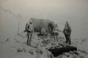 Múzy kremace, 2014, uhel na filcu, 100x150cm