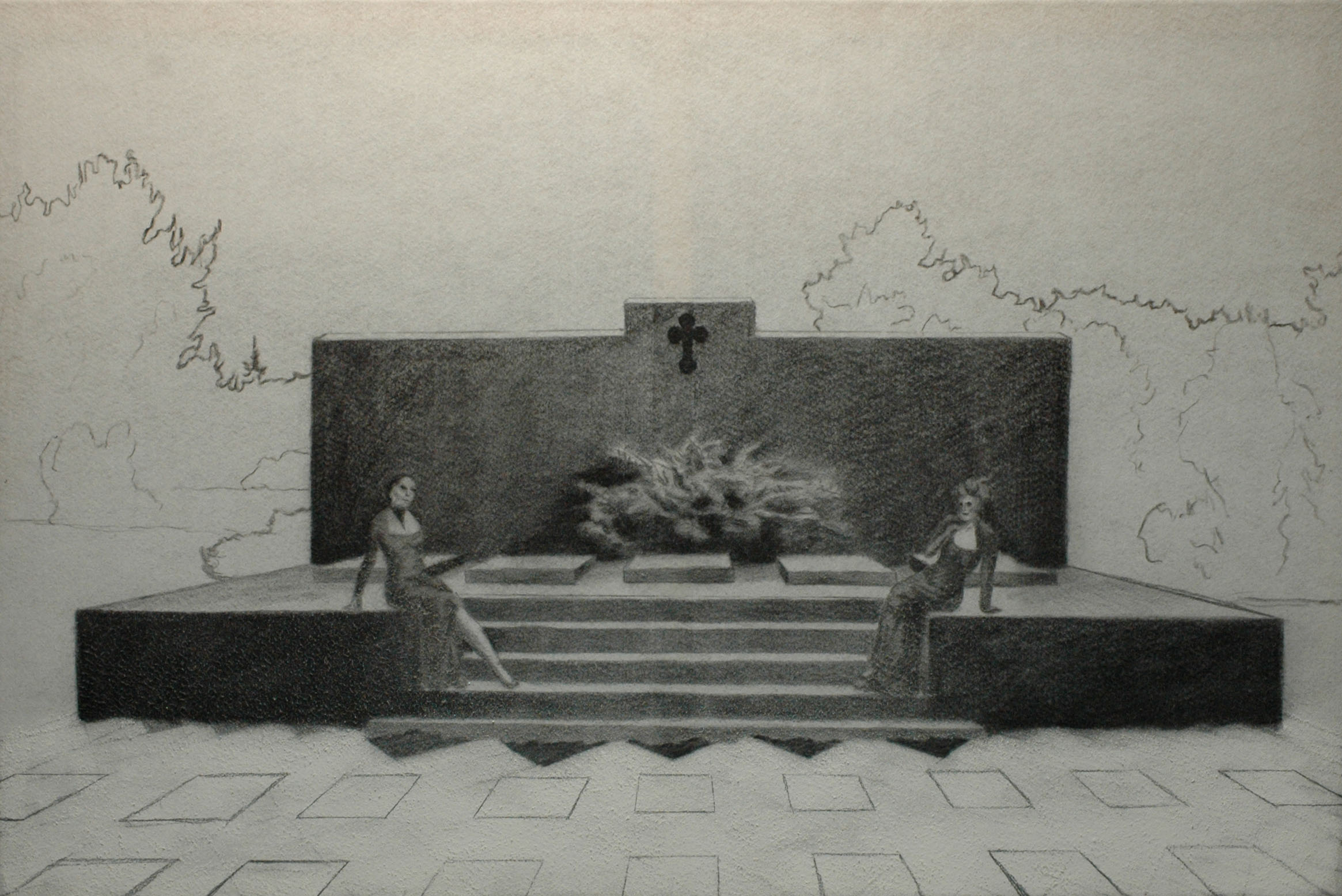 Múzy rakví, 2014, uhel na filcu, 100x150cm