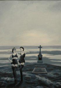 Nasazování masky, 2014, olej na plátně, 52×36,5cm
