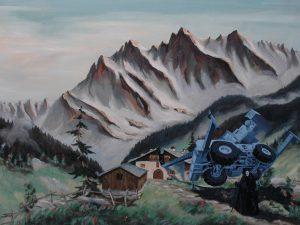 Nehoda jeřábu, 2014, olej na plátně, 60,5×80,5cm