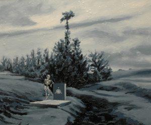 Nuda u hrobu, 2014, olej na plátně, 50x60cm