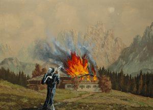 Požár chalupy, 2014, olej na sololitu, 50x70cm