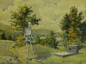Přistižení, 2014, akryl a akvarel na papíře, 21x29cm