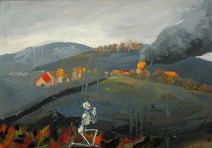 Prosba o útěk z obrazu, 2014, olej na sololitu, 50x70cm