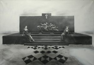 Riwa a Sikra odpočívají na hrobě, 2014, uhel a akryl na plátně, 70×100,5cm