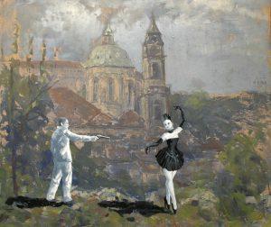 Zákaz tancování, 2014, olej a kvaš na kartonu, 56,5x67cm