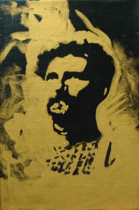Alfons Maria Mucha, 2015, bronz a akryl na plátně, 30x20cm