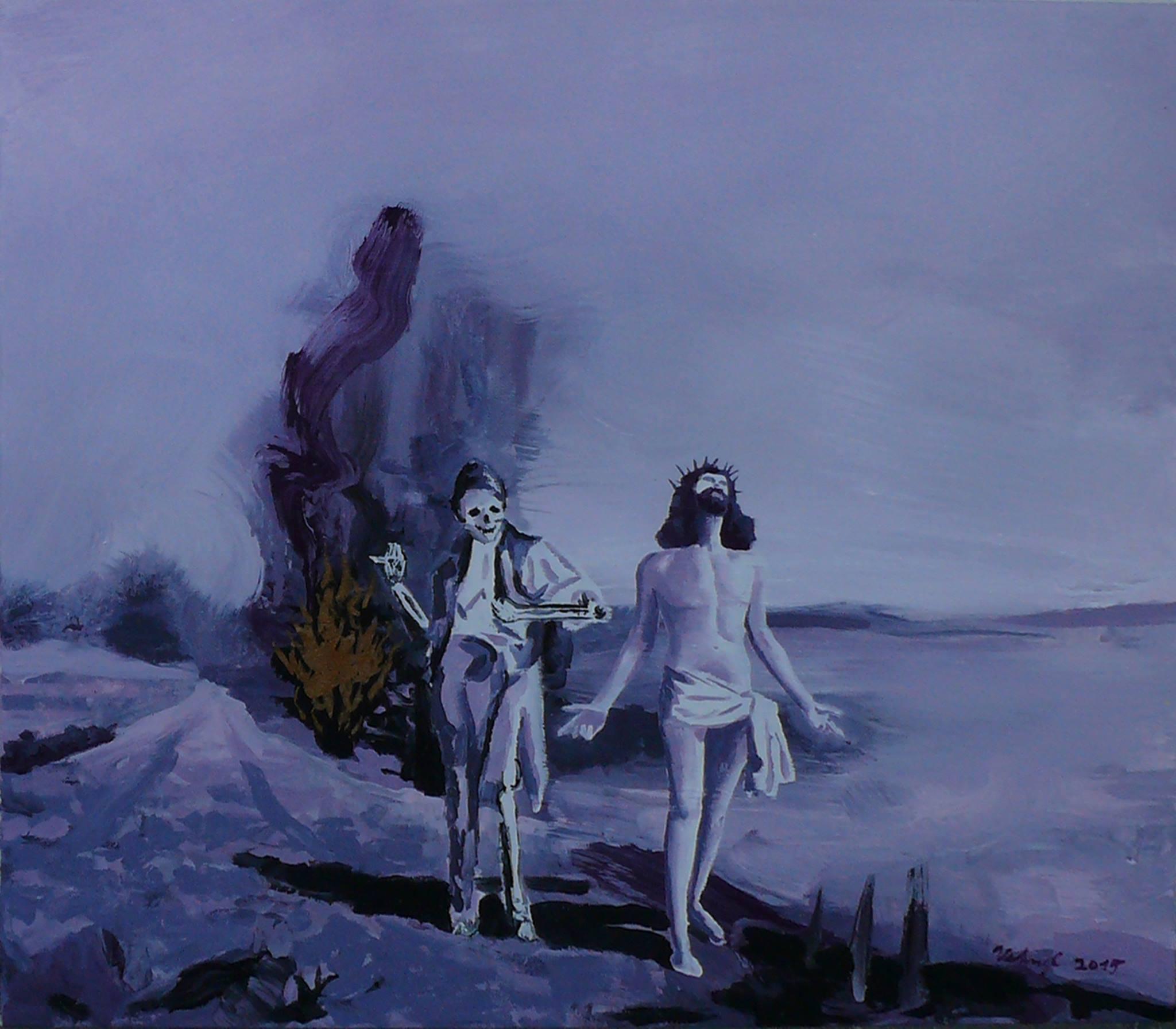 Debata u hořícího keře, 2015, olej a bronz na plátně, 70x80cm