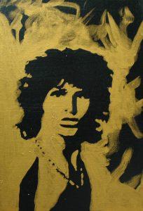 James Douglas Morrison, 2015, bronz a akryl na plátně, 30x20cm