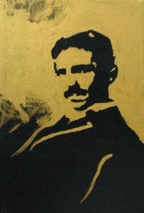 Nikola Tesla, 2015, bronz a akryl na plátně, 30x20cm
