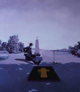 Pohřeb sebevraha, 2015, olej a bronz na plátně, 150x130cm