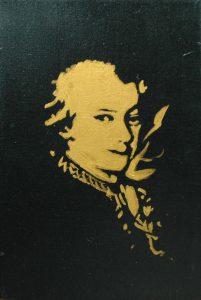 Wolfgang Amadeus Mozart, 2015, bronz a akryl na plátně, 30x20cm