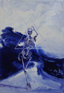 Kostra + trojúhelník = …, 2017, olej na plátně, 30x20cm