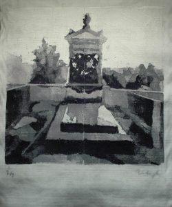 (Čeština) Hrob lásky, 2014, 145x117cm, Tisk z výšky z polystyrenu na filc Náklad 2