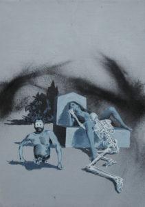 (Čeština) Necro feeling, 2013, olej, pigmenty a akryl na plátně, 70x50cm