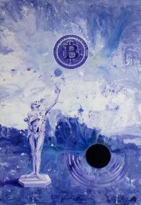 (Čeština) Bitcoin vs. gravitace , 2018, olej na plátně, 120x80cm